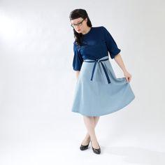 Very Sweet Vintage Navy Blue, Light Blue, & White Dress- Cute Sleeves, Tie Belt on Etsy, $35.00