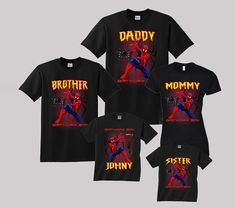 2bd2329f Spiderman Birthday Shirt Custom personalized shirts for all family, Black
