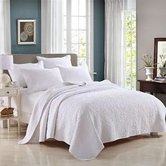 3-Piece Bedding Set Comforter Bedspread/Quilted Coverlet Sets Queen White Cotton