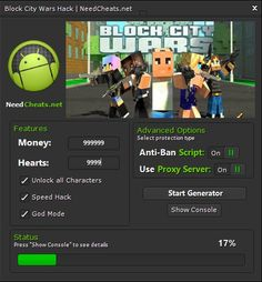 Download link: http://needcheats.net/block-city-wars-cheats-money-hack-tool/  Absolutely new as well as reliable Block City Wars Cheats is now for you! This program gives you plenty of capabilities to cheat the game. Should helps anyone by generate unrestricted Money and Hearts. You can furthermore unlock all Characters inside game and enable Speed Hack as well as God Mode. Using this amazing software everything are going to be easier! User interface is very clear. It gives you full…