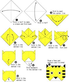 Lovely tiger origami tutorial