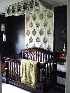 Block Printed Canopy Over A Baby's Crib