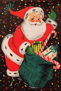 Vintage Mid Century Hallmark Black Christmas Card Santa Present Candy Confetti Vintage Christmas Images, Old Christmas, Old Fashioned Christmas, Retro Christmas, Vintage Holiday, Christmas Pictures, Christmas Mantles, Victorian Christmas, Christmas Trees