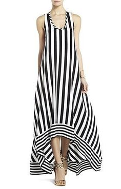 BCBG Gia Silk High Low Striped Dress Love the shape of this dress Latest Fashion Dresses, Fashion Outfits, Woman Outfits, Sewing Dress, Casual Dresses, Summer Dresses, Teen Dresses, Club Dresses, Mode Inspiration