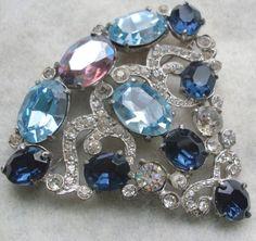Signed Staret Sapphire Rhinestone Fan Shape Pin