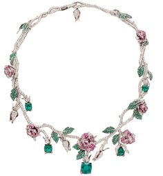Dior Joaillerie has a necklace decorated with roses in diamonds, emeralds and rubies