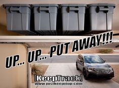 Overhead Garage Storage / Keep Track Storage Solutions Home Page Overhead Garage Storage, Garage Storage Solutions, Garage Shelf, Garage Cabinets, Garage Doors, Tote Storage, Garage Workshop, Home Organization, Home Improvement