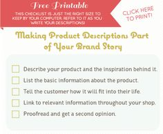making product descriptions part of your brand story - free printable from @thehomeground and @Bonnie Christine