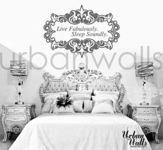 Live Fabulously Sleep Soundly by urbanwalls on Etsy from urbanwalls on Etsy. Saved to Our decals! Vinyl Wall Quotes, Vinyl Wall Decals, Wall Stickers, Sweet Home, House Design, Interior Design, Live, Furniture, Home Decor