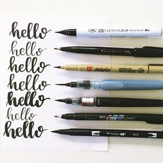 I often get asked about my favorite brush pens & which ones I recommend for beginners. Let's talk about the pens in this picture: Zig Clean Color Pentel Fude Touch Pigma Brush Koi Water Brush Fine Tip Pentel Color Brush Tombow Fude, Soft Tip Tombow Dual Brush For more info about each specific pen, click on the link in my bio. Have you tried any of these? Which pen do you like the best? COMMENT below! . . . #handlettering #moderncalligraphy #calligraphy #brushlettering #brushpens #brushl...