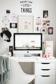 espace bureau scandinave, déco en noir et blanc, chambre ado fille contemporaine