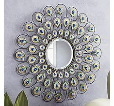 Peacock Mirror from Seventh Avenue ® - Fantastic! I love this mirror! Peacock Mirror, Peacock Bathroom, Peacock Decor, Peacock Colors, Peacock Art, Peacock Theme, Peacock Feathers, Indian Bathroom, Peacock Fabric