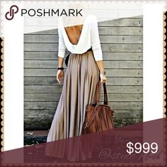 """PreOrder Now & Coming Soon Long Sleeve Maxi dress A MD and LG are coming soon. Pre-Order now in comments. Very alluring long sleeve maxi draped open back dress. A-line in polyester, round collar perfect fall, winter and spring!                                                      Medium: Waist 25.98"""" Length 58.27.                          Large: Waist 27.17"""" Length 58.66"""" styleNU Dresses Maxi"""