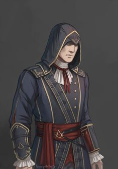 Sigerius' new uniform for the Soirée, 'a garment in the traditional style, the sort of thing people wore before the rise of the Combines' (and shamelessly inspired by Unity) Assassins Creed Rogue, Templer, Pretty Art, Nice Art, Batman Art, My Collection, Character Design Inspiration, Character Art, Video Games