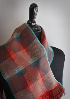 Handwoven Iridescence Scarf, Brick and Teal