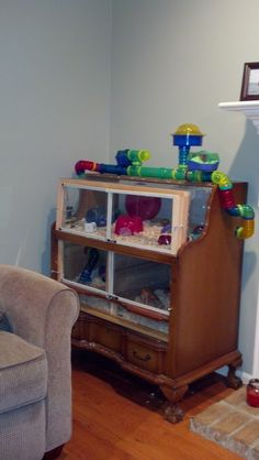Hamster cage I made out of an old piece of furniture.