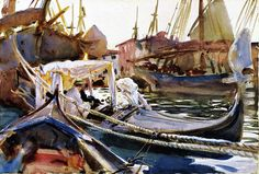 John Singer Sargent (1856 — 1925, USA) Sketching on the Giudecca. circa 1904 watercolor on paper. 34.93 x 49.53cm. (13.75 x 19.5 in.)