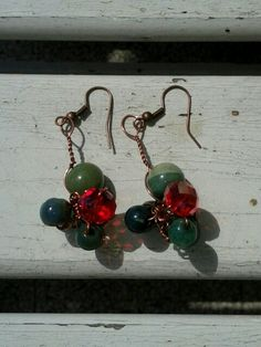 Copper and green natural stone earrings
