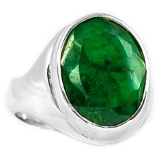 Emerald 925 Sterling Silver Ring Jewelry s.7 EMER1347