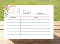 bridal shower recipe card printable recipe card 4x6 instant download recipe card kitchen