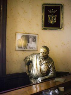 Lifesize Bronze Statue of Author Ernest Hemingway in Bar El Floridita, Havana, Cuba Photographic Print