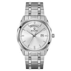 Bulova 96C127 Mens Classic Grey Quartz Watch   #fashion #watches #bulova #mensfashion #menswatches #authentic #accessories #jewelry #menswatchesluxury #watch #watchesofinstagram #luxury #twotone #chronograph #mensoutfits #menstyle #collection #silver #freeshipping #fathersday #giftsforhim Rolex Day Date, Stainless Steel Watch, Stainless Steel Bracelet, Mens Dress Watches, Wrist Watches, Bulova Watches, Luxury Watches For Men, Watch Sale, Silver Man