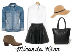 Denim Jacket + White Button Up Blouse + Leather A-line Skirt + Taupe Suede Ankle Boots + Tan Hat + Black Box Tote