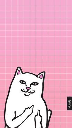 RIP n DIP white cat w/ middle finger