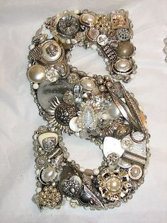 Initial Wall Custom Made from Upcycled Vintage & Modern Jewelry  http://stores.ebay.com/salvatidesigns/