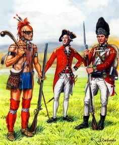 British soldiers and indian allies American Revolutionary War, American War, American Indians, American History, British Army Uniform, British Uniforms, British Soldier, British America, Independence War