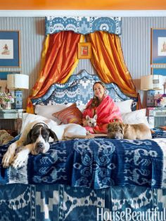 It doesn't get better than this. beautiful dogs on the bed, blue and white and an exciting interesting layered room with brilliant textiles many designed by Michelle Nussbaumer What a woman she is. a fabulous designer , a decorat Decor, Beautiful Bedrooms, Diy Canopy, Beautiful Homes, Dog Room Design, Fabric Canopy, Backyard Canopy, Blue And White, Canopy Tent