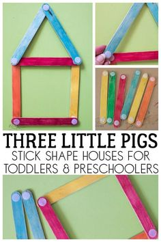 Simple shape activity for toddlers and preschoolers inspired by the classic fairy tale Three Little Pigs using craft sticks to make shape and colour houses. Rhyming Preschool, Nursery Rhymes Preschool, Nursery Activities, Rhyming Activities, Toddler Preschool, Classroom Activities, Preschool Activities, Physics Classroom, Shape Activities For Preschoolers