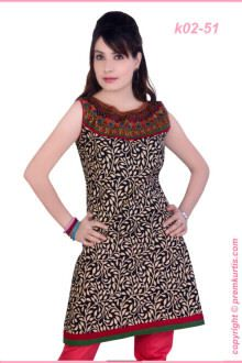 printed fancy kurtis wholesale supply manufactured with front and back side embroidery.