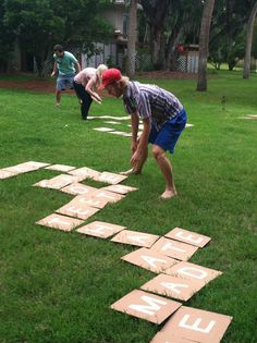 "Backyard Scrabble (or Bananagrams):  There are 144 ""tiles."" Here's how many of each letter you need.  2: J, K, Q, X, Z  3: B, C, F, H, M, P, V, W, Y  4: G  5: L  6: D, S, U  8: N  9: T, R  11: O  12: I  13: A  18: E Doesn't have to be this large"