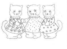 Vintage Three little kittens embroidery pattern.