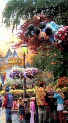 """""""Disneyland """" by Thomas Kinkade Disney Art Disney Dream, Disney Love, Disney Art, Disney Stuff, Walt Disney, Thomas Kinkade Art, Thomas Kinkade Disney, Kinkade Paintings, Thomas Kincaid"""
