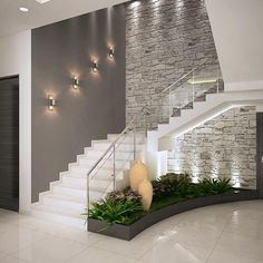 Inspire-se nestas fantásticas escadas para construir a sua!Corredores e halls de entrada por ACE INTERIORS Interior Design Your Home, Home Stairs Design, Modern House Design, Stair Design, Interior Ideas, Brick Interior, Apartment Interior, Interior Design For Hall, Home Hall Design