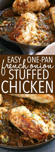 Easy Chicken Recipes, Turkey Recipes, Dinner Recipes, Onion Soup Chicken Recipe, Meat Recipes, Stuffed Chicken Recipes, Healthy Recipes, Chicken Meals, Delicious Recipes