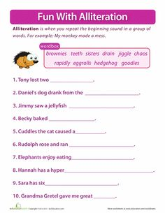 Worksheets 4th Grade Phonics Worksheets our 5 favorite 4th grade reading worksheets language focus on alliteration activity