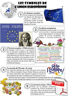 Les symboles de l'Europe Ap French, Learn French, French General, Teaching French, Emc Cycle 3, French Club Ideas, Flags Europe, School Information, School