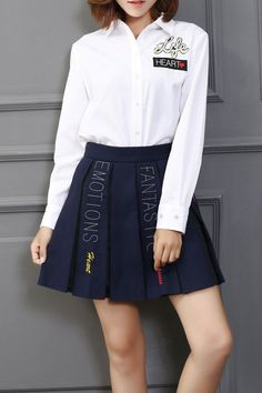 Qian.l White Heart Graphic Collared Shirt | Blouses at DEZZAL. Women's Fashion Top. Back to School Clothes.