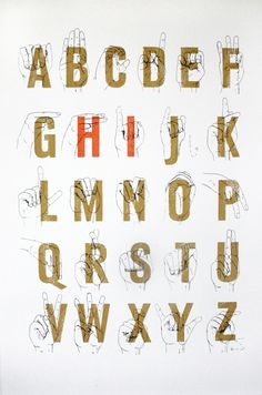 Sign Language Alphabet Screenprint by Nic Annette Miller Language Logo, Sign Language Phrases, Sign Language Alphabet, Sign Language Interpreter, British Sign Language, Language Arts, Deaf Culture, Screen Printing, How To Draw Hands