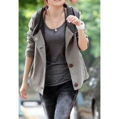 Color Block Hooded Casual Style Long Sleeves Cotton Blend Women's Jacket