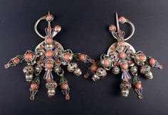 Morocco | Vintage white metal, enamel and glass fibulas | 185€