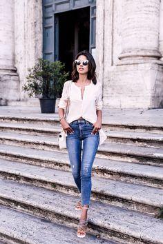 High-rise skinny jeans + Chloe rainbow sandals