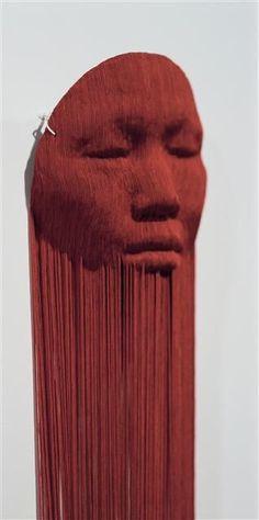 Yuk King Tan, Untitled Red Masks - fabric tassels on wax and plastic masks Tan Tumblr, Plastic Mask, Red Mask, New Zealand Art, Human Condition, Art Cars, New Art, Cool Art, Street Art