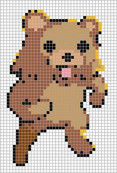 Pedobear Pixel Art Grid by Hama-Girl on DeviantArt Pedobear, Pixel Art Grid, Pattern Blocks, Block Patterns, Bead Patterns, Cross Stitch For Kids, Nyan Cat, Minecraft Pixel Art, Iron Beads
