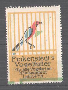 Reklamemarke Finkenstedt´s Vogelfutter, Lehrte, Vogel im Käfig