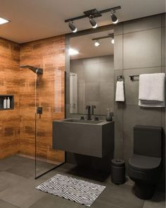 Leroy Merlin - Construction, Finishing, Decoration and Gardening, Small bathroom with industrial style black granite. Bathroom Layout, Modern Bathroom Design, Bathroom Interior Design, Small Bathroom, Zen Bathroom, Bathroom Vinyl, White Bathroom, Black Decor, House Design