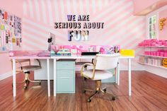 dream office | workspace | studio | tour of @shopbando's Glittery, Colorful, Insanely Fun L.A. Office, via @refinery29